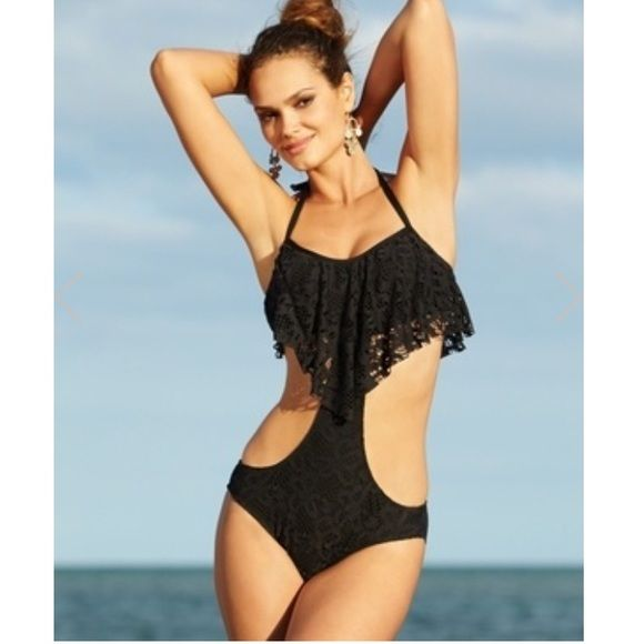 HPNWT Kenneth Cole Reaction Black Monokini Pretty black crochet detail and flutter top. Looks like a 2 piece from the back. Cute Monokini for when you want a tad more coverage. Size Medium. Halter tie & some padding in top. Can't go wrong with classic black. Brand new with tags. Make an offer. Kenneth Cole Reaction Swim One Pieces
