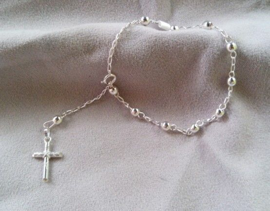 Pulsera tipo rosario 0.925 plata taxco