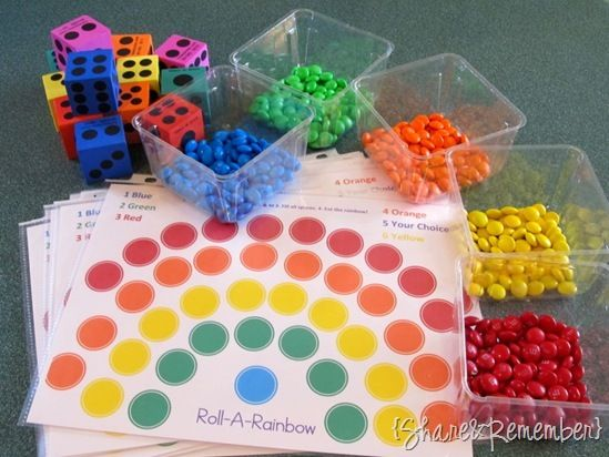 Roll a Rainbow Game (with free printable!) I will probably write word wall words on the circles or math facts.