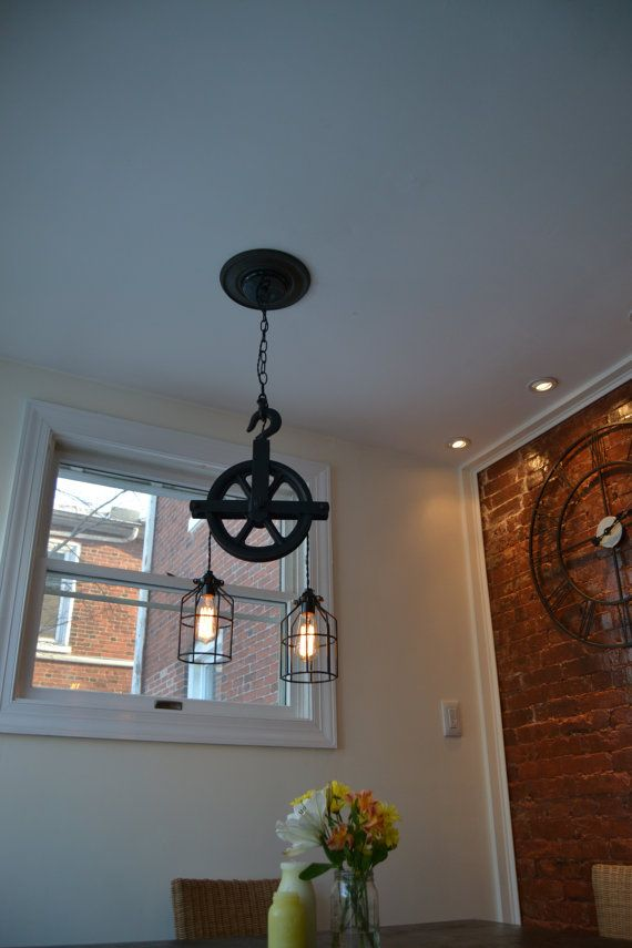 Repurposed Barn Pulley Industrial Light Swag by