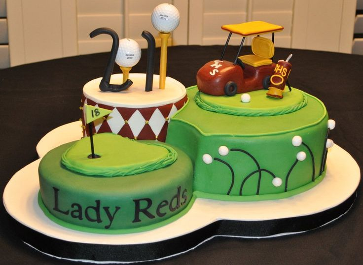 Graduation Golf Cake Real golf balls...all other decor rkt and fondant
