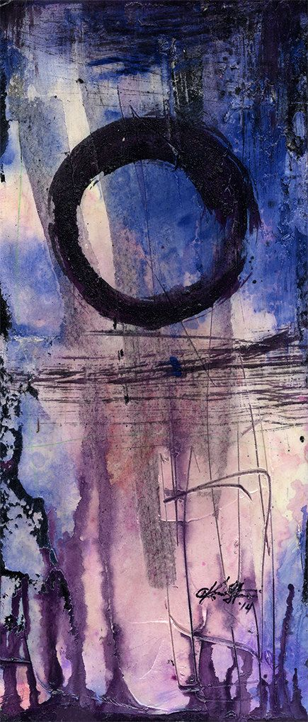 ENSO... Serie... Nr. mm20... Originele hedendaagse Mixed Media Zen cirkel kunst schilderij van Kathy Morton Stanion EBSQ