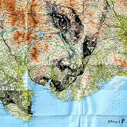 Ed Fairburn, Cardiff artist, creates amazing map-based portraits.