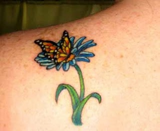 butterflies with flowers tattoo designs