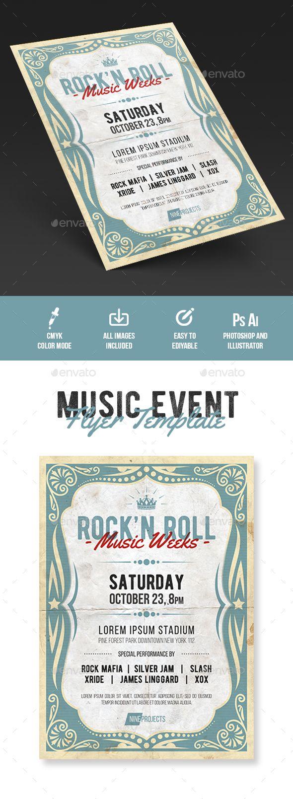 Music Flyer Template PSD, AI Illustrator