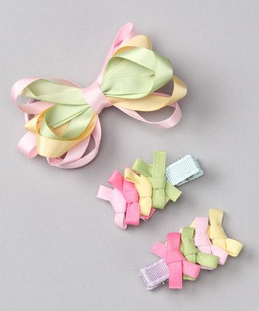 Pink & Green Looped Bow Clip Set