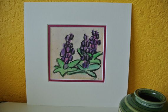 Tekening 'Hyacinten' - houtskool en aquarel, in bijpassend dubbel passe-partout