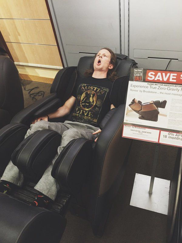 Priceless Austin Brown reaction to a massage chair in a mall!  Saw this on Twitter first. lol