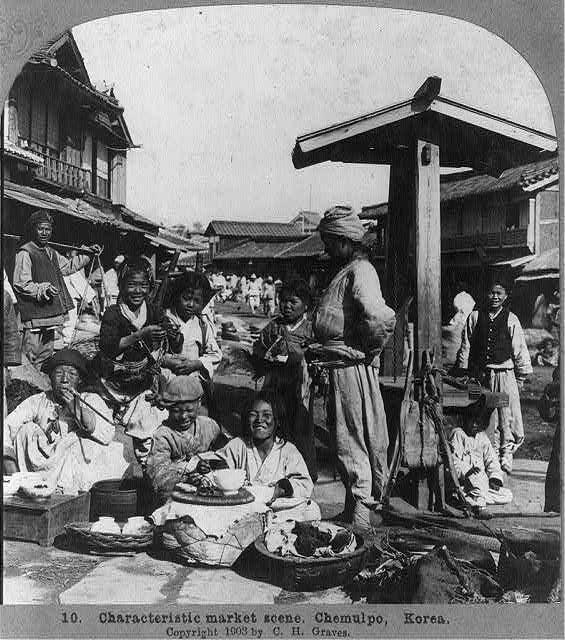 Characteristic market scene, Chemulpo, Korea