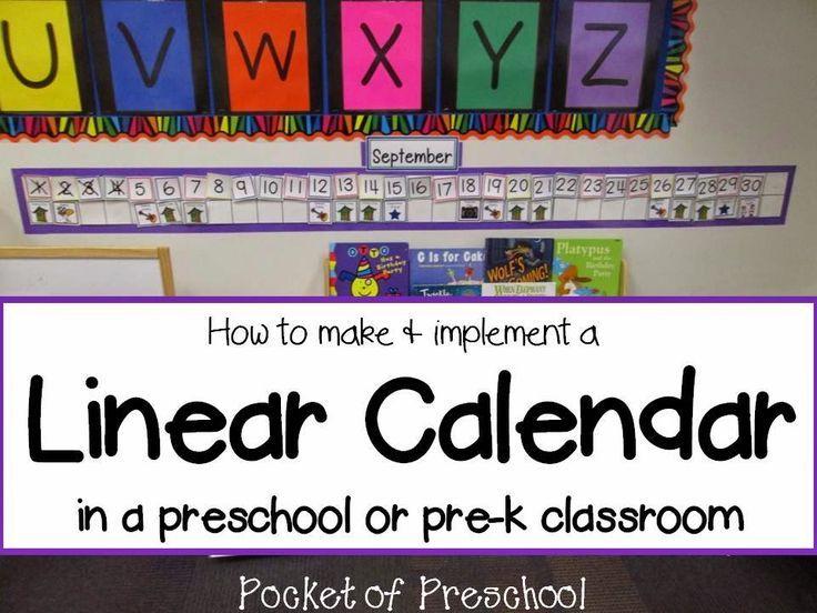How to Make and Implement a Linear Calendar in a preschool, pre-k, or kindergarten classroom!  Pocket of Preschool