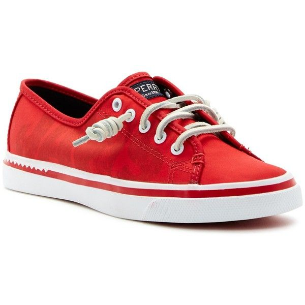 Sperry Seacoast Logo Sneaker featuring polyvore women's fashion shoes sneakers red sperry shoes lacing sneakers rubber shoes laced sneakers red trainers