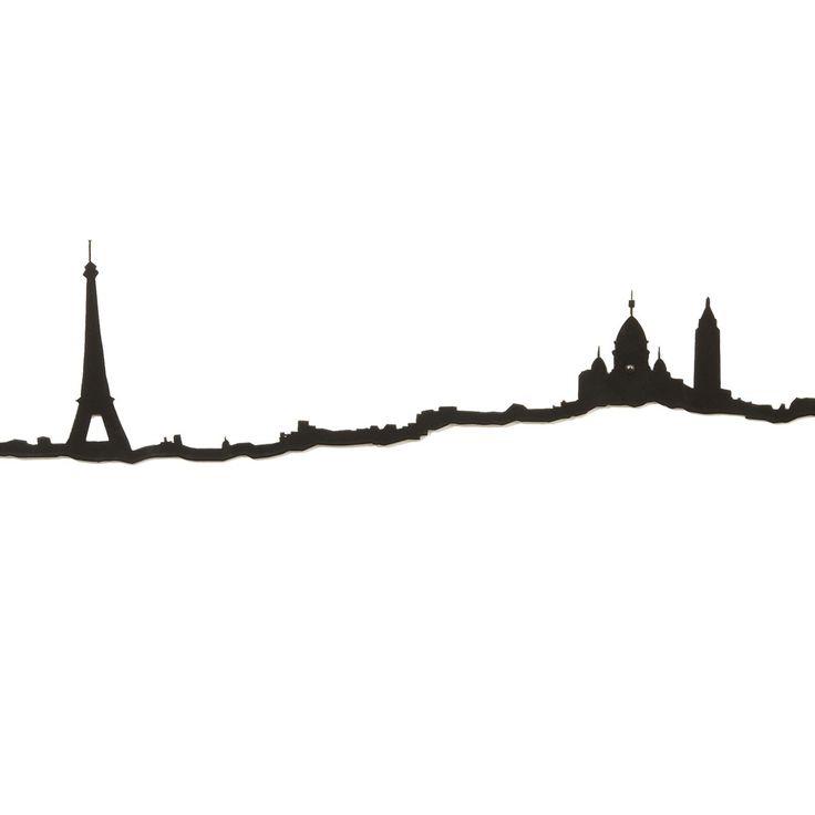Frise décorative Paris - Noir - Baladez-vous le long de la skyline newyorkaise, parcourez la butte Montmartre ou arpentez les rives de la Tamise avec cette collection de décorations murales qui renouvelle la frise décorative ! Minimaliste, c'est l'horizon des grandes capitales qui est simplifié sous la forme d'une ligne noire… Pour attribuer à votre intérieur une dimension urbaine inédite !