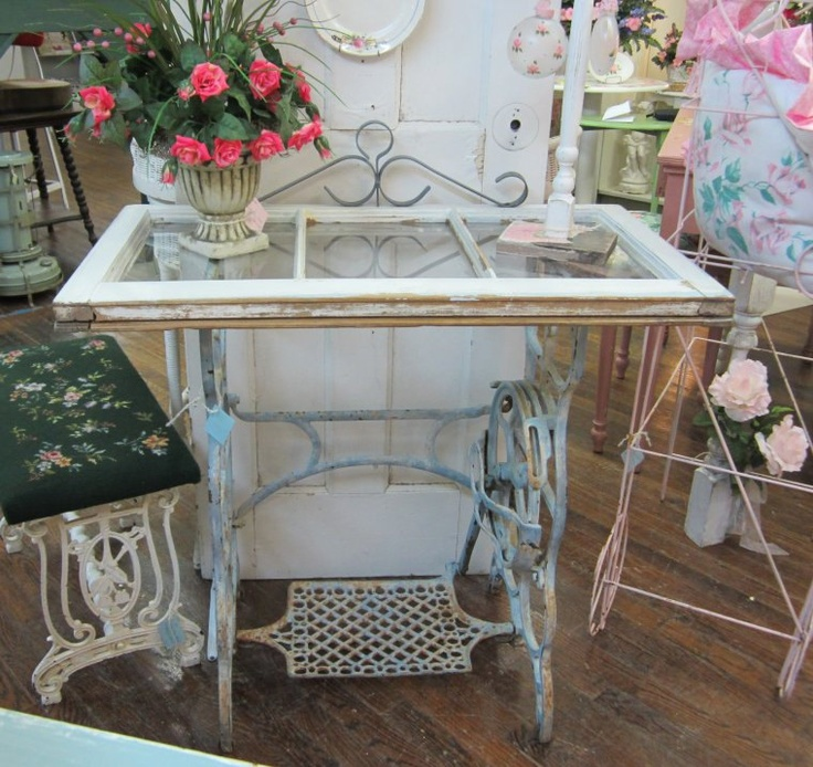 Vintage sewing Table base with Shabby Three-Pane Window top