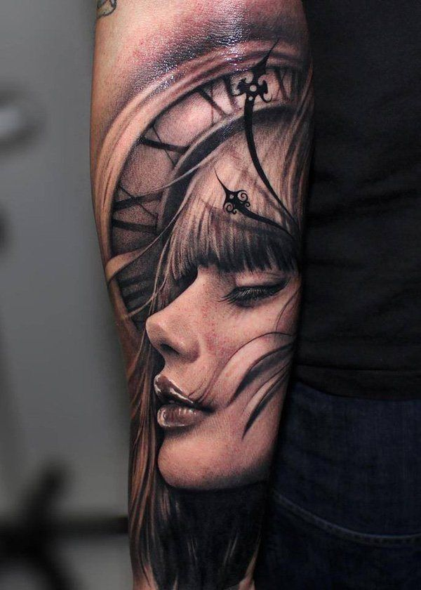 Very pretty 3D clock and girl face tattoo. | Ink-spiration ...