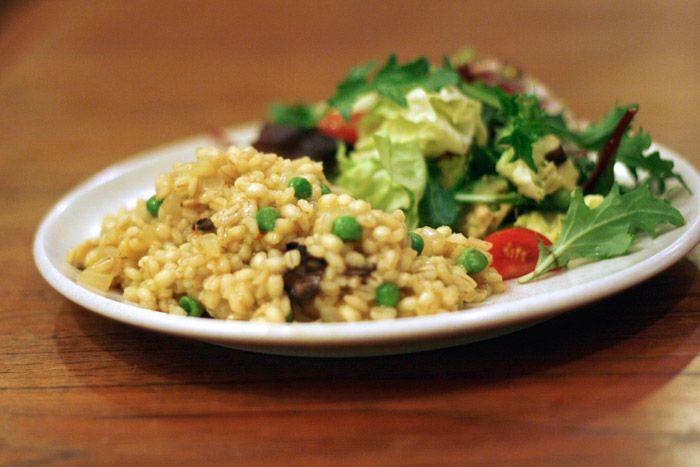 Saffron and Mushroom Barley Risotto - Well Vegan