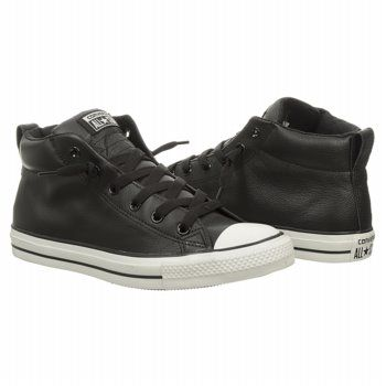 black leather converse mid
