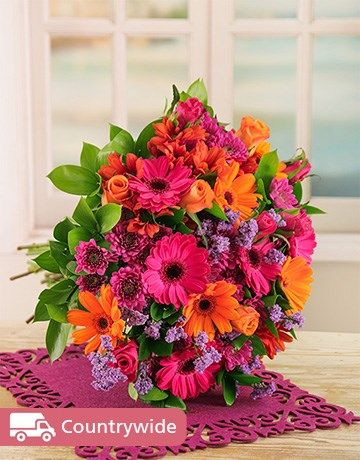 Buy Bouquet of Bright Gerberas, Roses and Sprays Online - NetFlorist