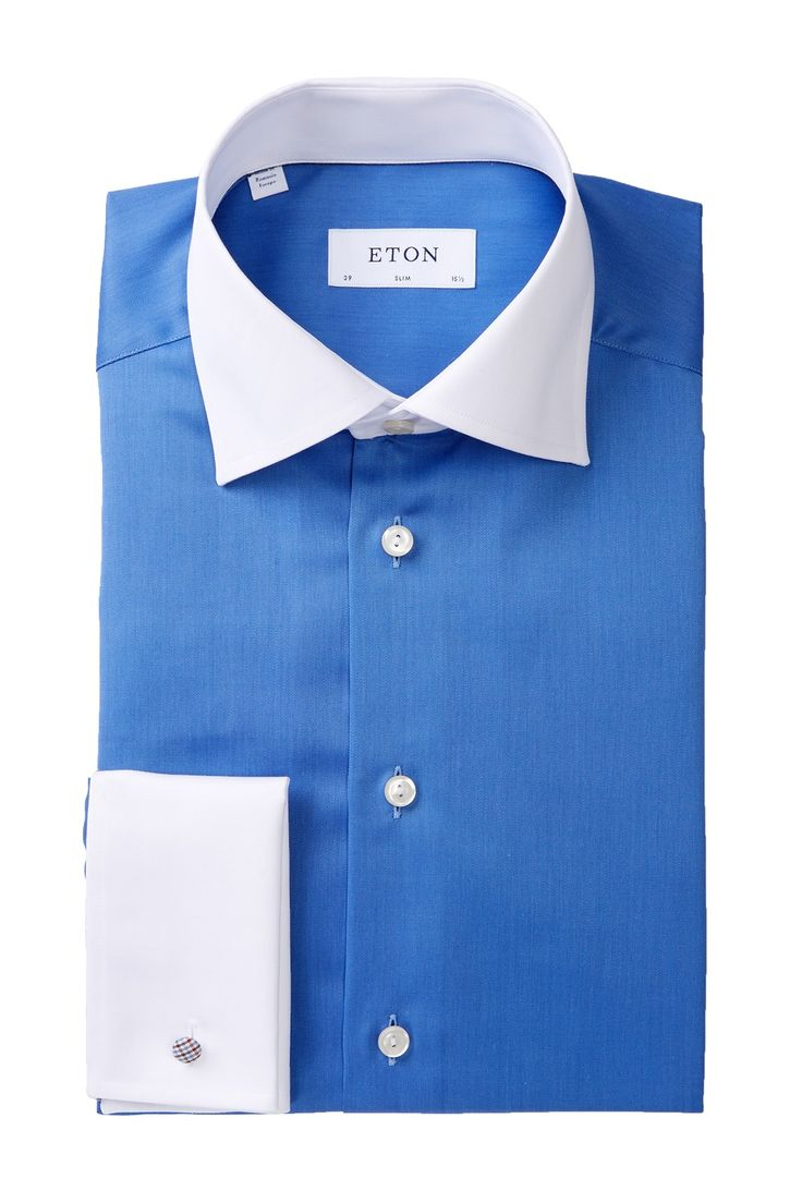 Two-Tone Contemporary Fit Dress Shirt
