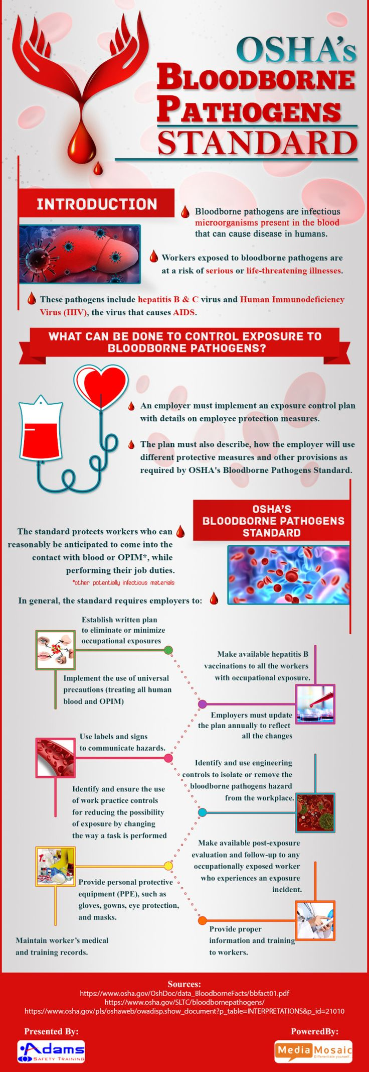 """Bloodborne pathogens are infectious microorganism present in the human blood that can cause diseases in humans. The given Infographic will help to bring some facts about these pathogens into the light. Workers in many departments such as nurses, responders and health care providers are explicitly exposed to these pathogens that accentuate hepatitis B (HBV), hepatitis C (HCV) and human immunodeficiency virus (HIV) and many more disease-causing viruses."""