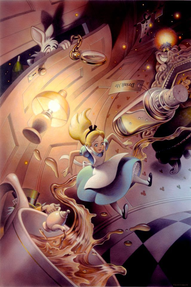 "This is my new Disney artwork ""Alice in Wonderland/ Drink me"". There is a concealed picture in this artwork. Are you found?? :D via KloudPics mobileapp"
