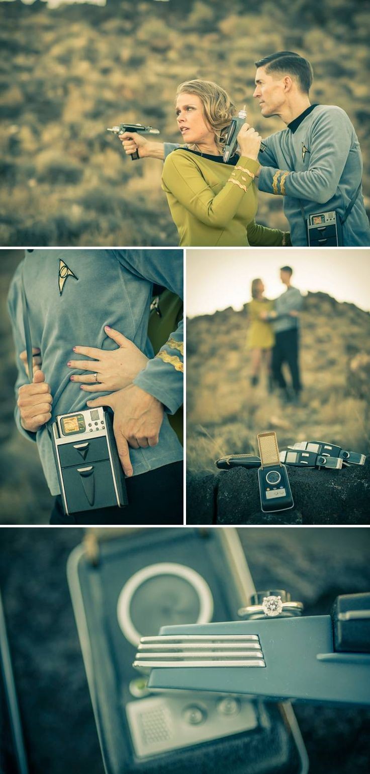 I love the idea of doing a themed engagement session to show of the couple's personalities!  Star Trek Engagement Session - BummedBride.com