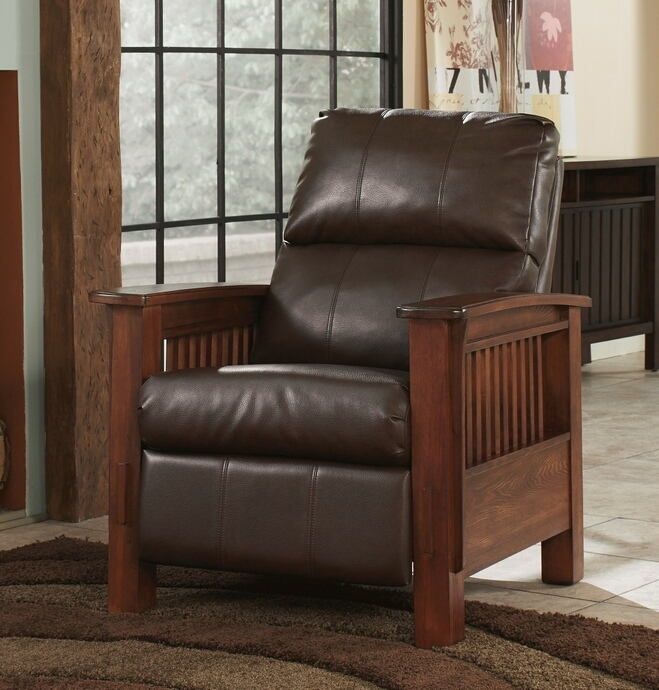 Ashley Furniture 1990026 Santa Fe Bark Colored Faux Leather Mission Style Recliner Chair With Large Wood Arms High Leg Recliner Mission Style Furniture Ashley Furniture