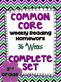 3rd Grade Common Core Reading Homework! 36 weeks worth. Use for classwork, homework, or even assignments! $
