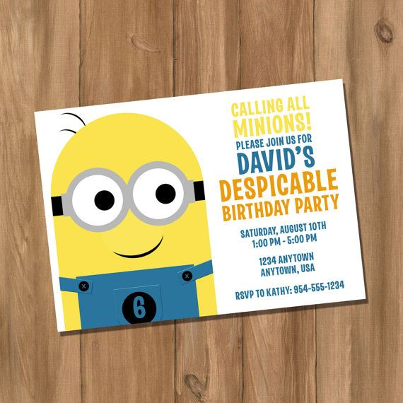 Despicable Me Minion Inspired Birthday Party Invitation (Digital - DIY) on Etsy, $10.00