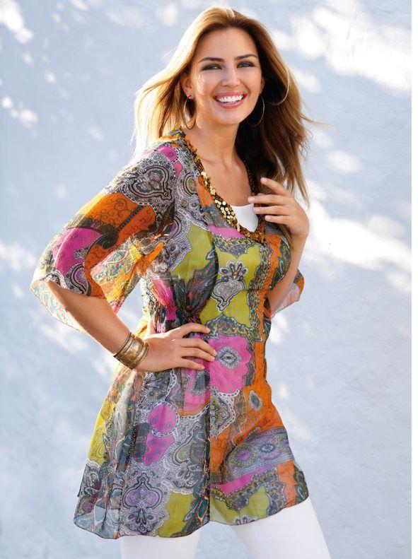 Blusa comprida para mulher Blusa de decote em V com aplicações de lantejoulas douradas. Manga 3/4 larga. Peças laterais elásticas. Oferta de uma camisola