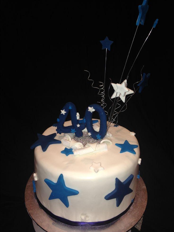 Tony's 40th birthday cake Commissioned June 2017 Chocolate cake, vanilla bean icing.  White, navy, blue, silver stars theme
