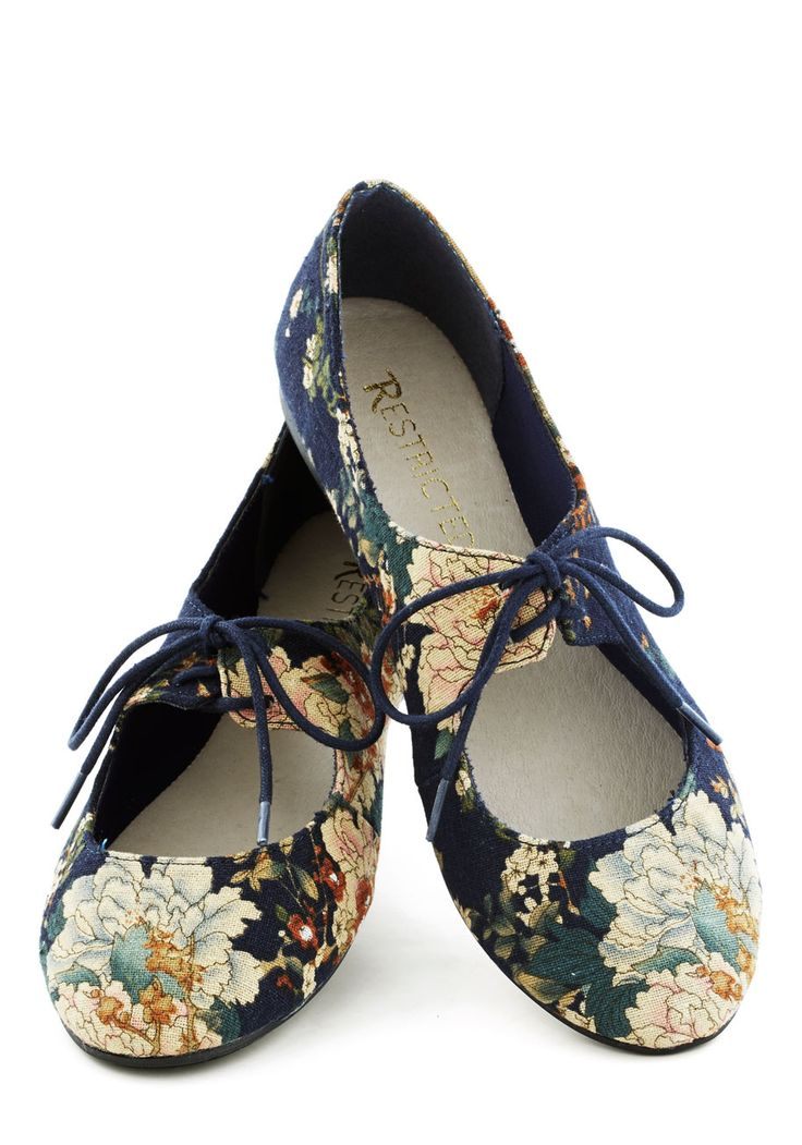 After You Flat in Navy. Holding doors and giving up your bus seat for strangers is nothing new for you, but theres something about these floral-print navy-blue flats by Restricted that encourages extra thoughtfulness. #blue #modcloth
