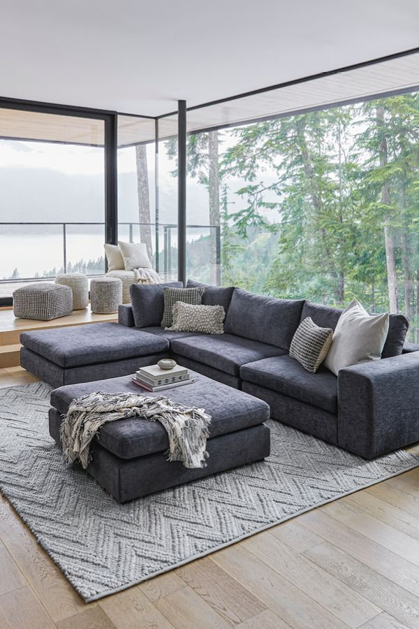 You Can Have It All Modular Sofas Can Be Arranged As The Focal Point Of A Room Or B Dark Grey Couch Living Room Grey Couch Living Room Modular Sectional Sofa
