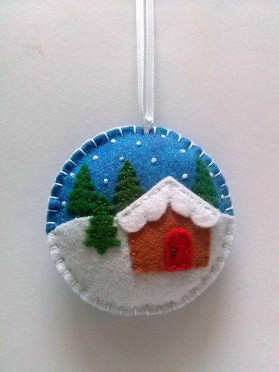 Vilt kerst ornament - Christmas dorp snow globe cadeau topper, sneeuwt ornament, sieraad, peperkoek huis sieraad, boom decoratie