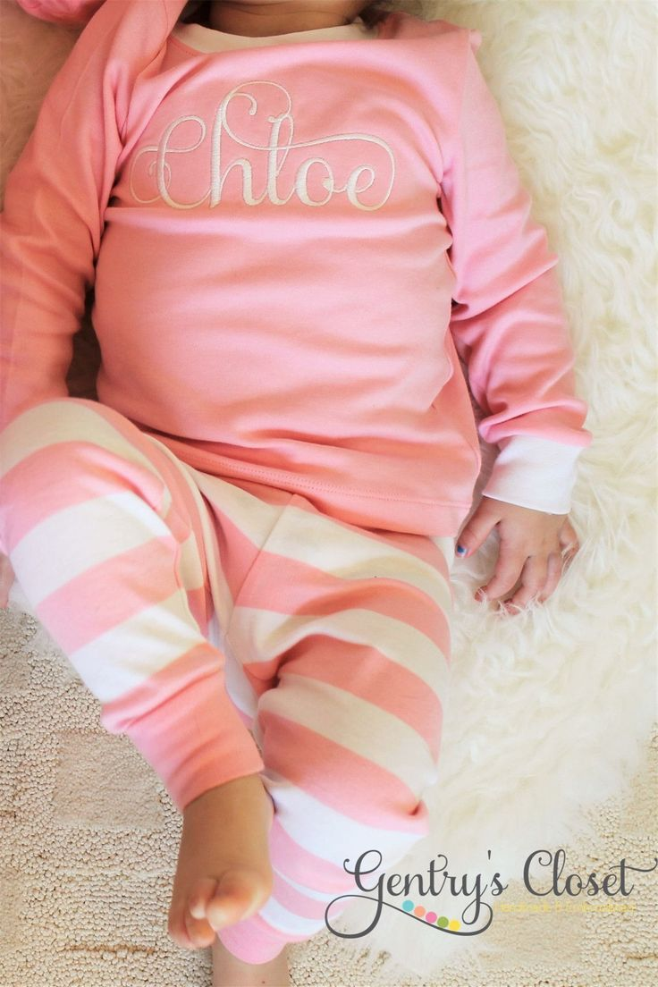 Our infant and kid's monogrammed light pink pajamas are a classic item! Each pair is embroidered with a name or monogram in a font and thread color of your choo