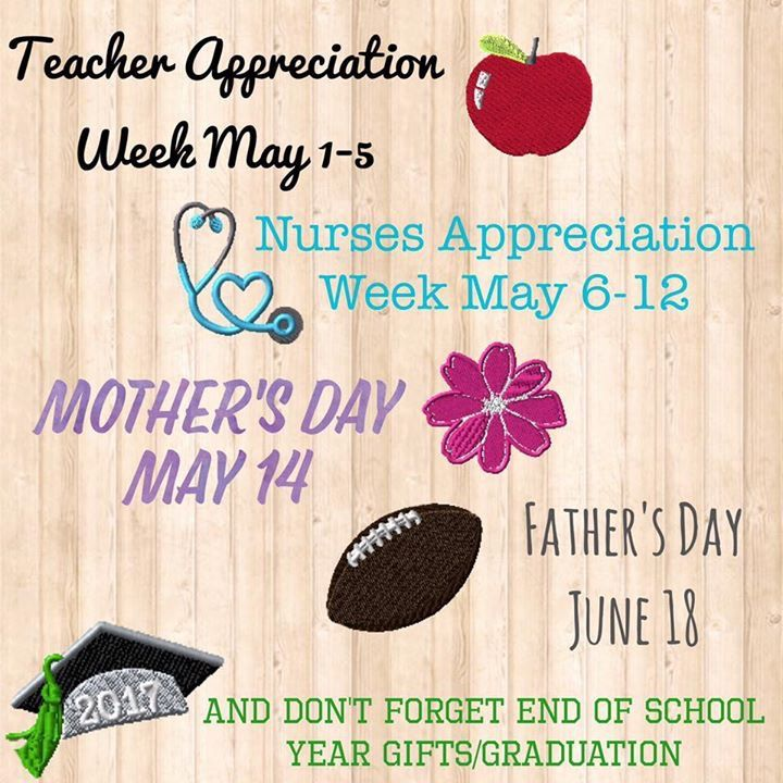 Thirty-One has your gift giving needs covered no matter what holiday! Check out a few important dates coming up. www.thebagdealer.com Teacher Appreciation Week, Nurse Appreciation Week, Mothers Day, Fathers Day and Graduation season!