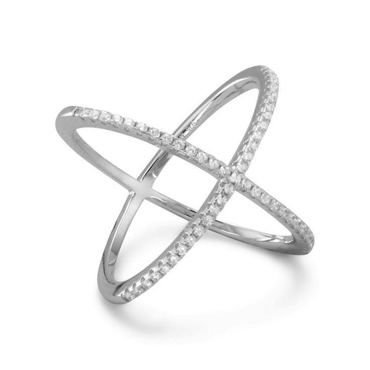 Zilveren Dubbele Ring Gekruist met Zirkonia