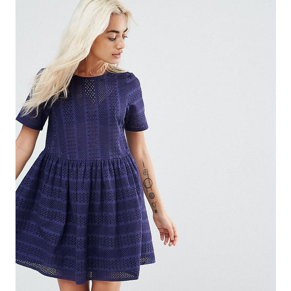 ASOS PETITE Mini Smock Dress in Broderie (€36) ❤ liked on Polyvore featuring dresses, navy, petite, navy short dress, short loose dresses, navy blue short dress, petite lace dress and navy blue lace dress