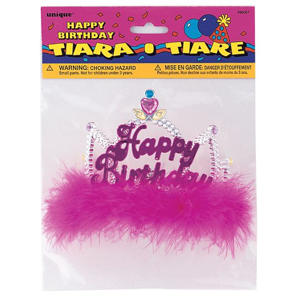 Need a fabulous way to crown the birthday princess at your party? The Fancy Happy Birthday Tiara is perfect for her royal highness! The tiara has a silver foil headband, purple marabou fringe and hot