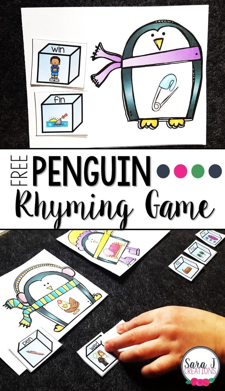 Free penguin themed rhyming game!  Great CVC and rhyme practice.