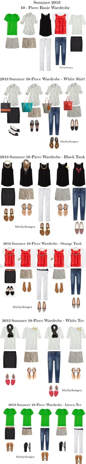 Summer 2013 Ten - Piece Basic Wardrobe by bluehydrangea on Polyvore featuring Uniqlo, Madewell, MANGO, J.Crew, Zara, Tory Burch, Nine West, Club Monaco, Steve Madden and Pieces