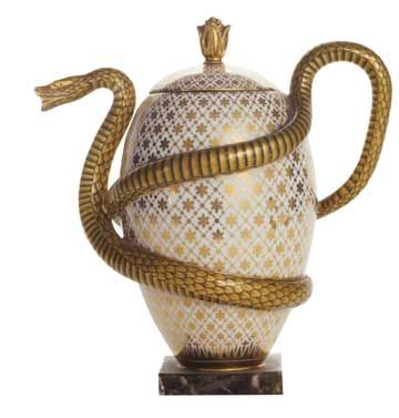 Egg-and-Snake Teapot, French, Sèvres Factory, 1833, Hard-Paste Porcelain.  journalofantiques.com: Hard Paste Porcelain, Au Serpent, Les Art, Teas Pots, Eggs And Snak Teapots, Serpent Teas, Eggandsnak Teapots, De Sèvres, Sèvres Factories