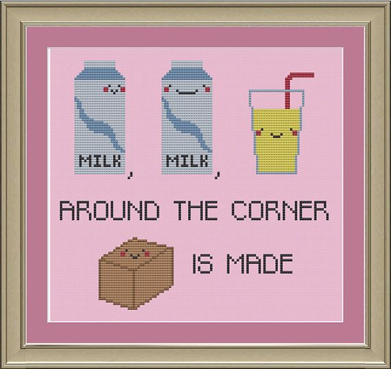 Milk, milk, lemonade: funny cross-stitch pattern on Etsy, $3.00