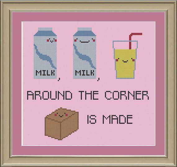 Milk, milk, lemonade: funny cross-stitch pattern on Etsy, $3.00