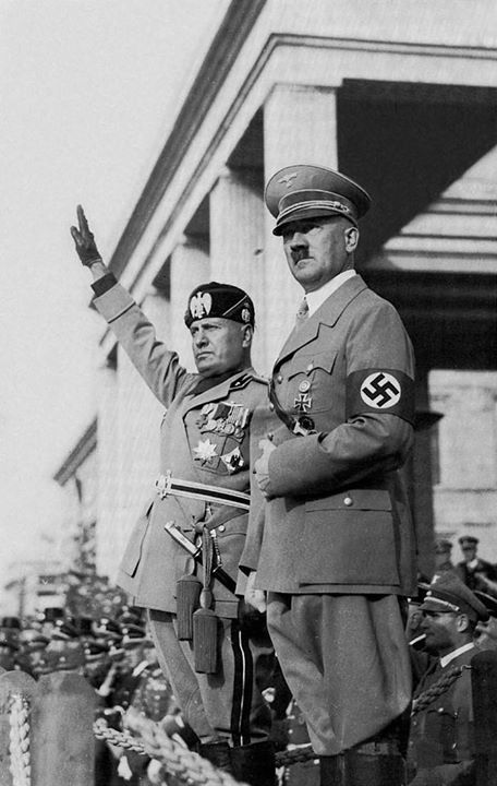 Adolf Hitler and Benito Mussolini in Italy.