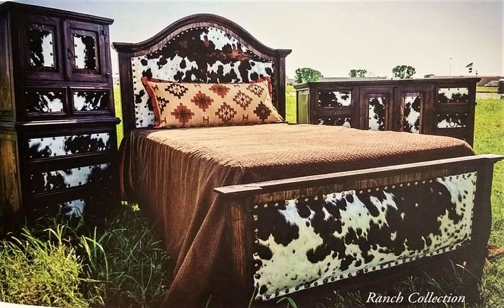 Cowhide Headboard & Footboard Bed Set - Western Furniture