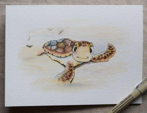 Baby zeeschildpad is zo opgewonden dat hij stevent af op de zee!  Afdrukken alleen. U kunt alleen meerdere kaarten voor een afdruk (niet voor een origineel) bestellen. Dit is een handgeschilderde aquarel wenskaart op 140 lbs. zuurvrij, Strathmore aquarel papier. Alle kaarten zijn ontworpen en geschilderd door mij. Dimensie van de kaart is 5 x 6⅞. Bijpassende envelop opgenomen. Origineel en afdrukken zijn beide op strathmore aquarel papier.  Deze kaart kan ook gemakkelijk passen in elk frame…