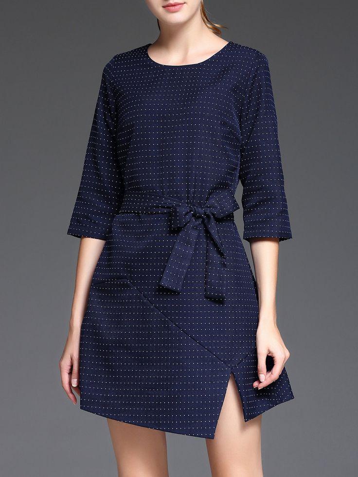 Shop Mini Dresses - Crew Neck 3/4 Sleeve Asymmetric Simple Mini Dress online. Discover unique designers fashion at StyleWe.com.