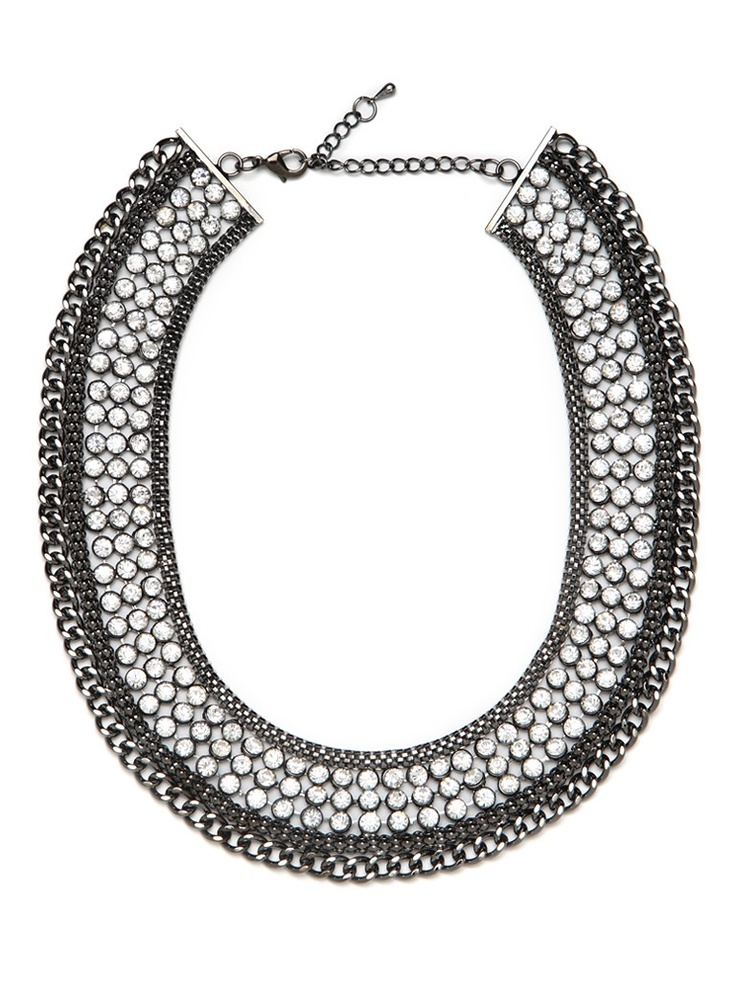 Tuck a bejeweled collar under a button-down for an irreverent take on a tailored look - BaubleBar Ice Chain Collar