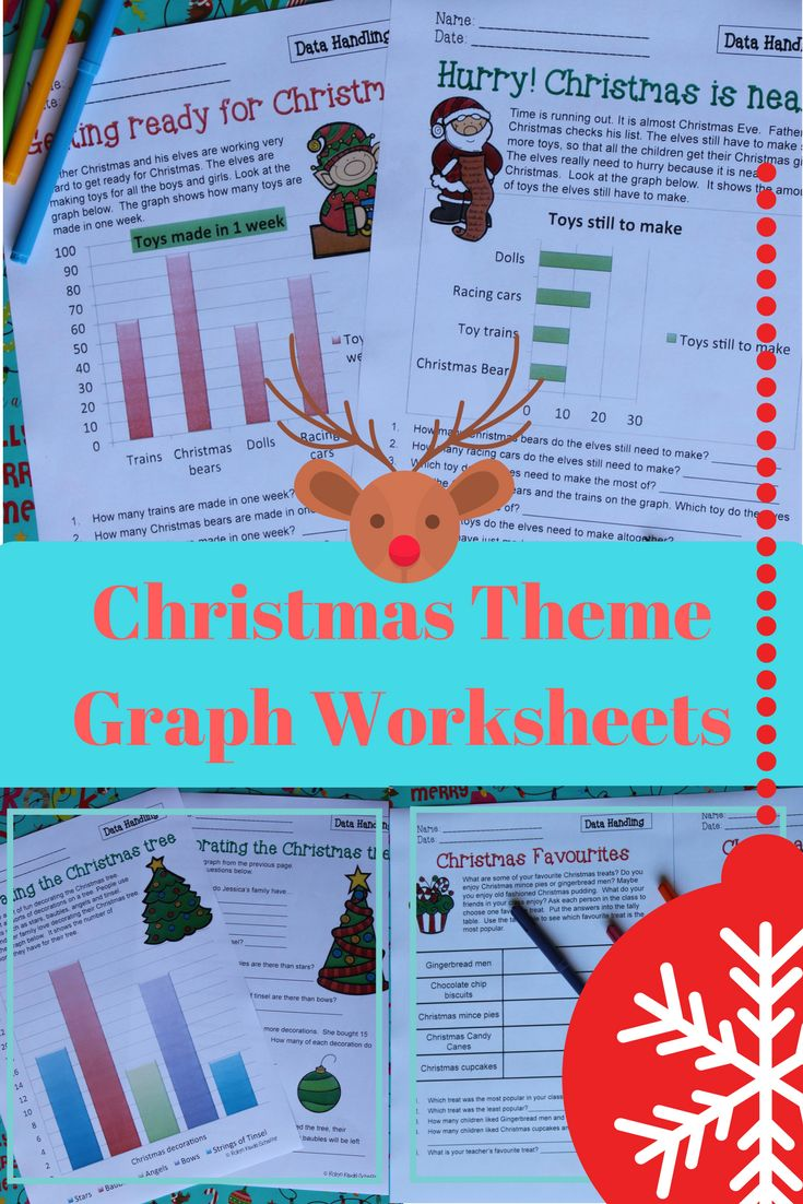 Christmas themed data and graph worksheets.  Great Math worksheets to help get into the holiday spirit.   #christmas #mathematics #graphwork #tpt #treasuresforthematicteaching #worksheets #holidays