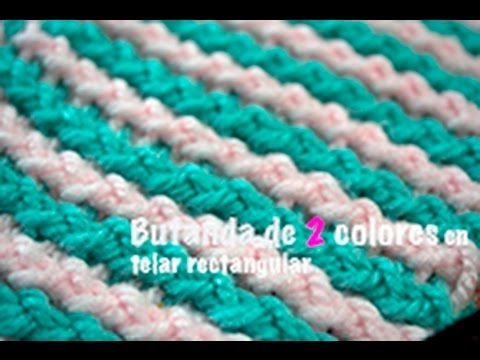 Bufanda de 2 colores/ Bufanda bicolor [telar rectangular]